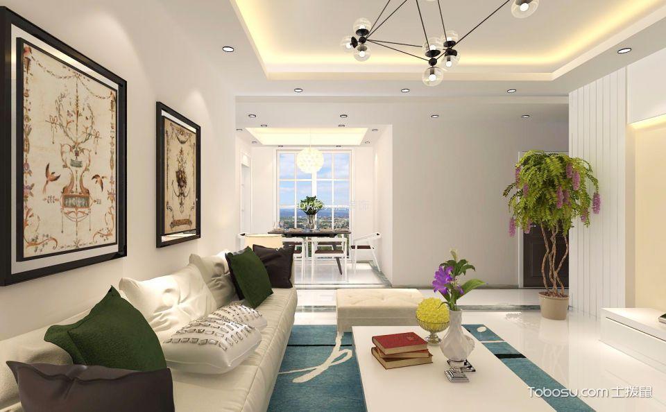 俊发城127平米现代风格三居室装修效果图