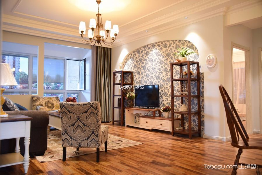 滨湖竹园110平美式风格三居室装修效果图