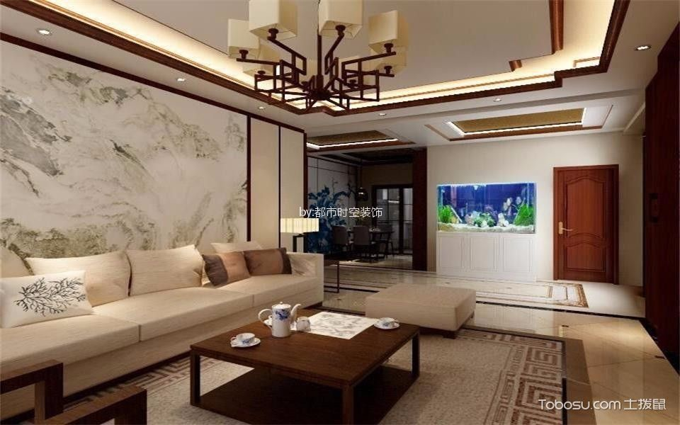 东瑞揽胜134平米新中式三居室装修案例效果图