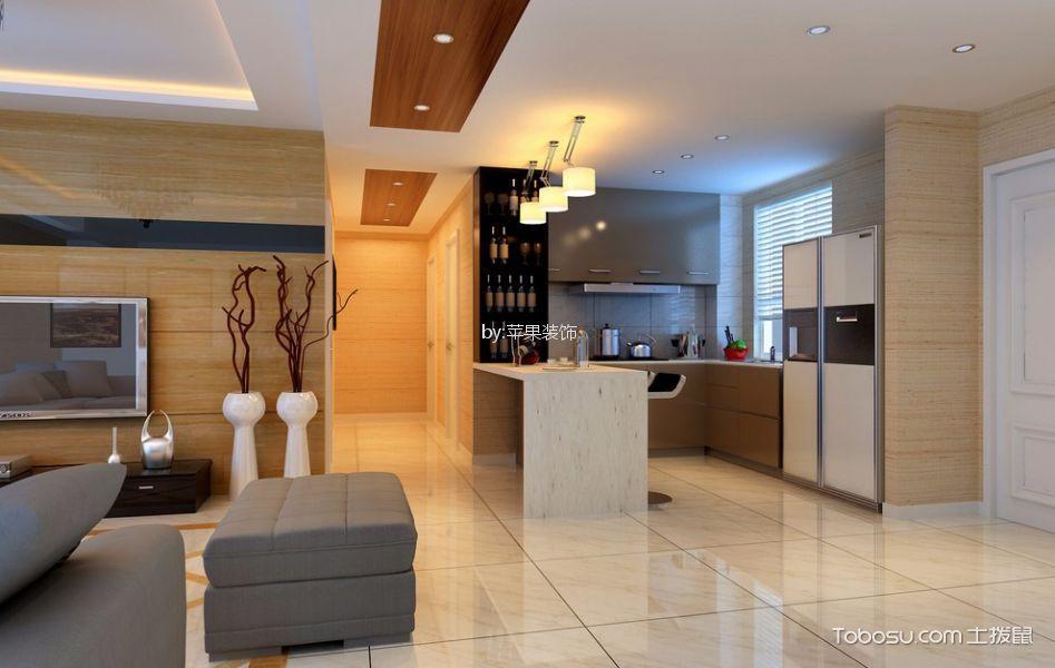 90平米开放式简约三室一厅装修效果图