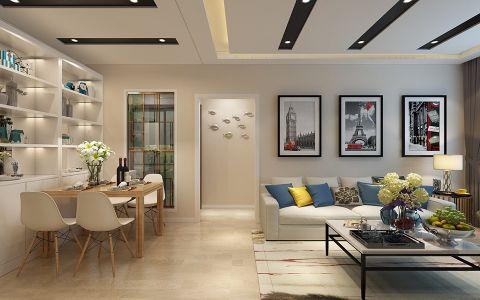 鲁商蓝岸现代风格80平米二居室装修效果图