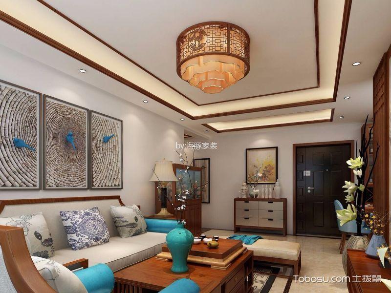 客厅蓝色灯具新中式风格装潢效果图