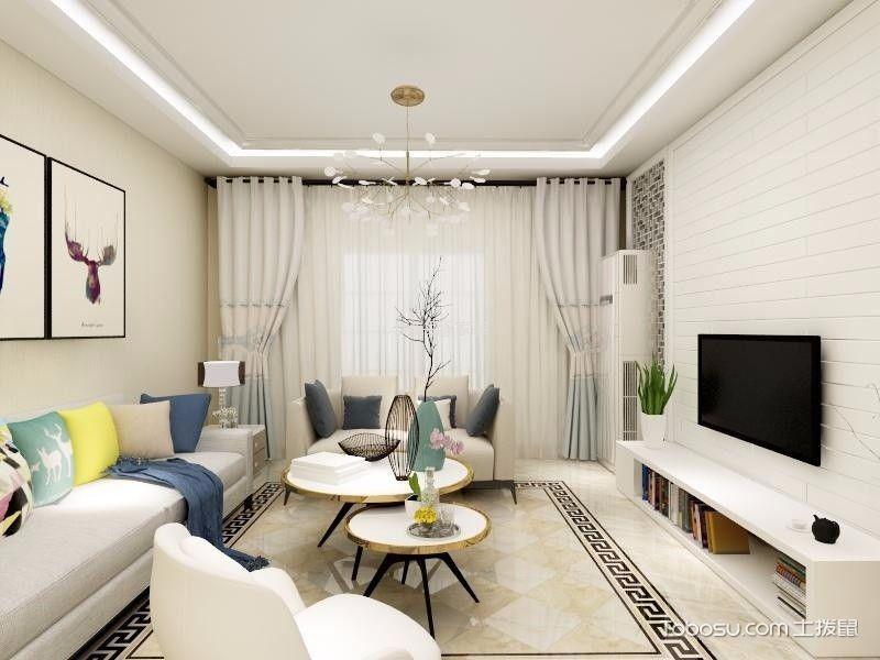 100平米现代简约两室一厅装修效果图