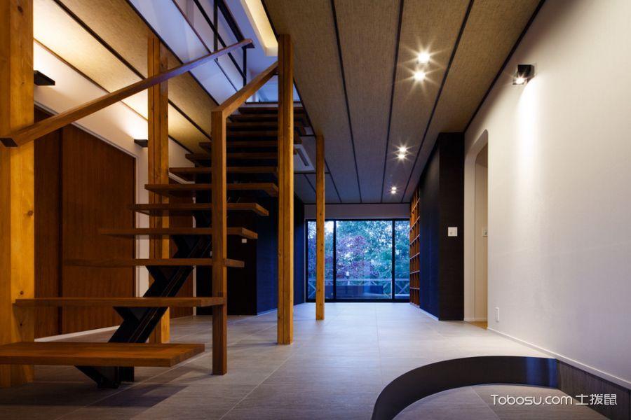 玄关咖啡色楼梯日式风格装潢效果图