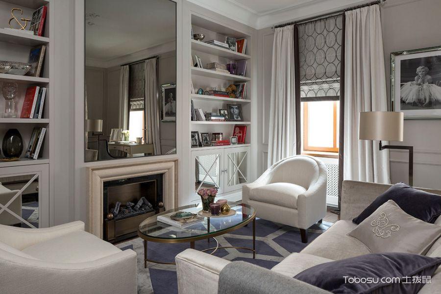 客厅白色书架美式风格装饰效果图