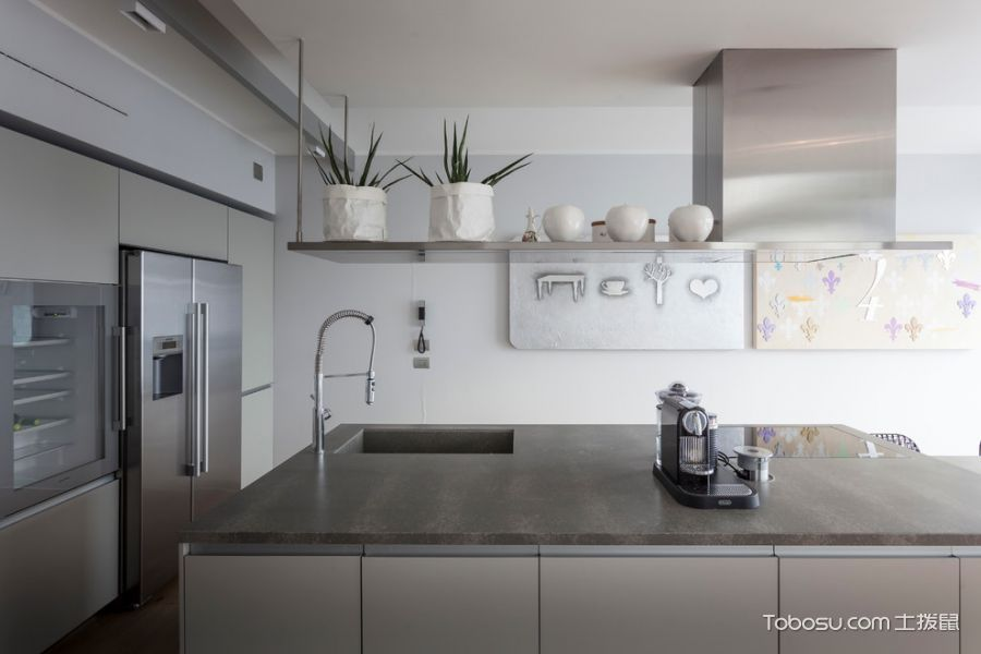 厨房灰色厨房岛台现代风格装修效果图