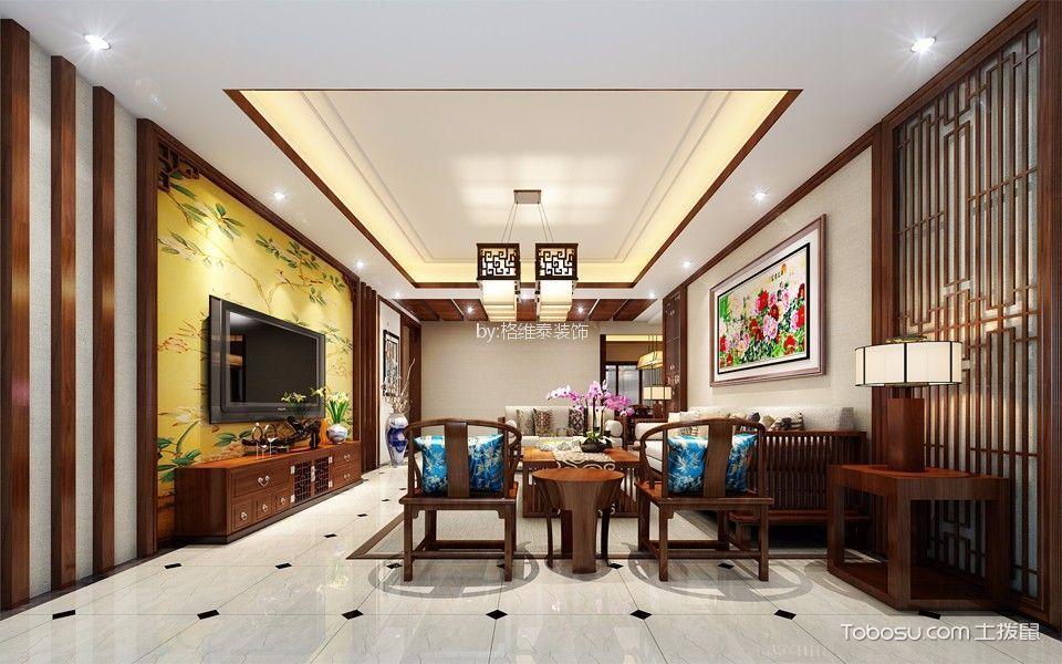 120平米新中式风格三室二厅装修效果图