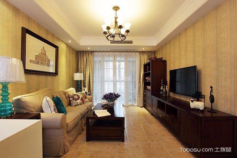 申城佳苑90平美式风格三居室装修效果图
