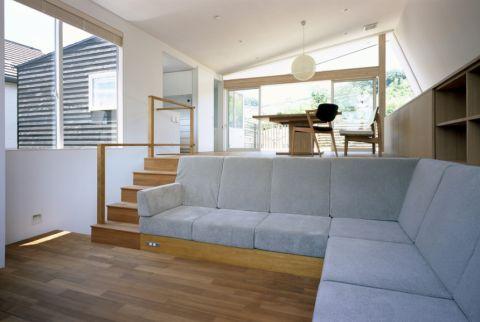 客厅l型沙发日式装饰实景图