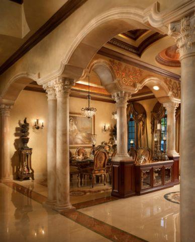 餐厅地中海风格效果图大全2017图片_土拨鼠唯美优雅餐厅地中海风格装修设计效果图欣赏