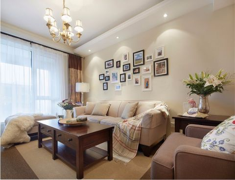 89平米清新美式风格二室一厅装修效果图