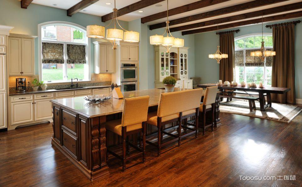 厨房咖啡色厨房岛台美式风格装潢设计图片
