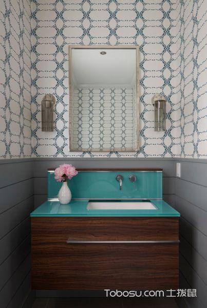 浴室咖啡色洗漱台混搭风格装饰设计图片