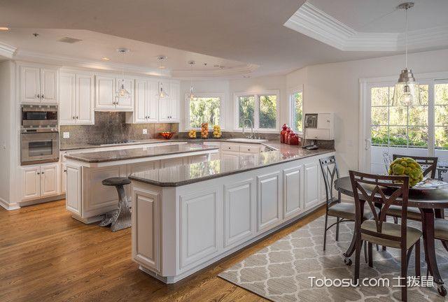 厨房白色厨房岛台地中海风格装饰设计图片