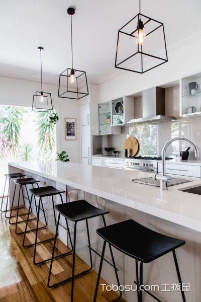 厨房白色厨房岛台北欧风格装修设计图片