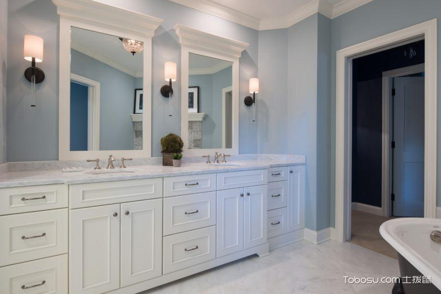 浴室白色洗漱台美式风格装修设计图片