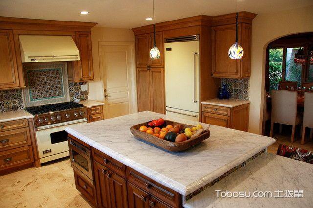 厨房咖啡色厨房岛台地中海风格装潢效果图