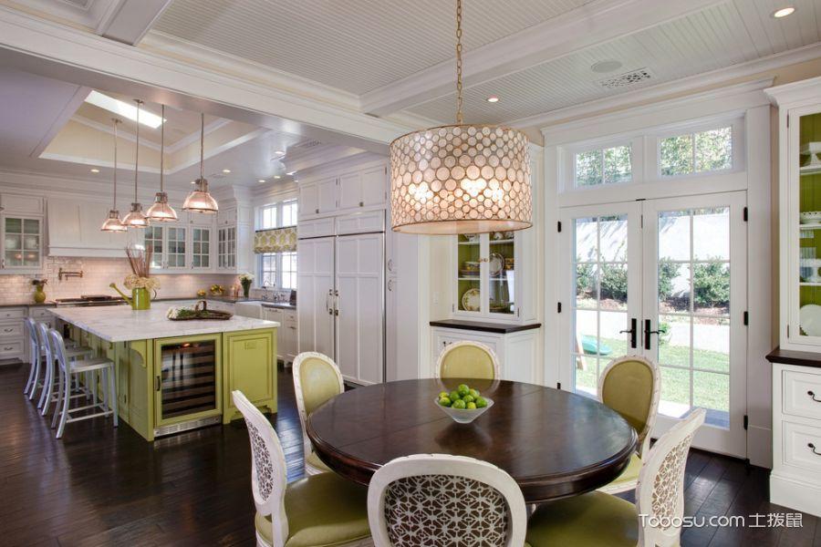 餐厅黄色灯具美式风格装潢效果图