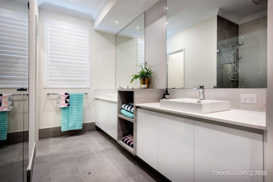 浴室白色洗漱台现代风格装潢图片