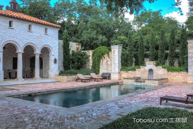 花园咖啡色泳池地中海风格装修图片