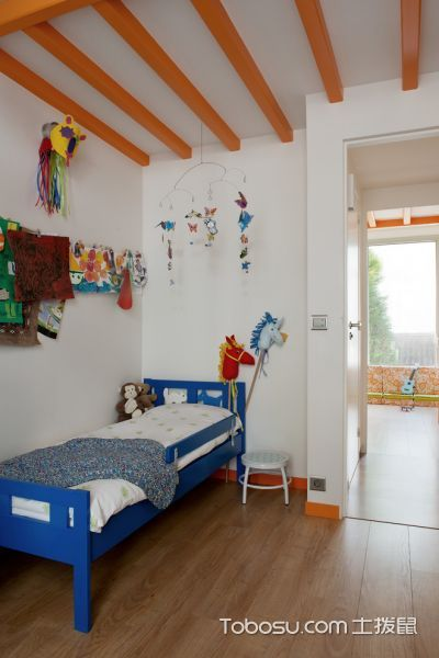 儿童房蓝色床北欧风格装潢设计图片