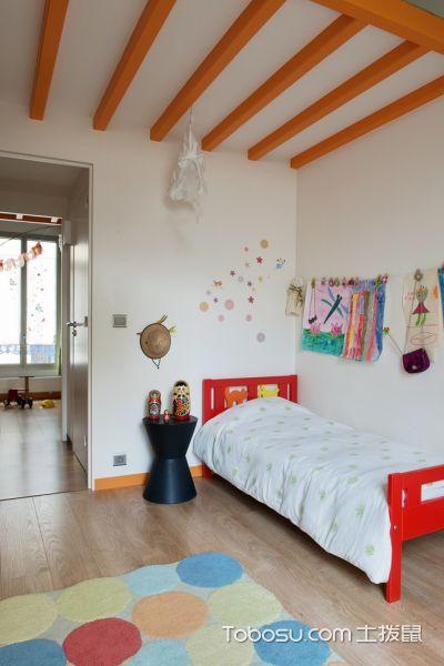 儿童房红色床北欧风格效果图