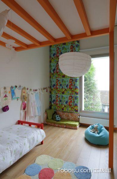 儿童房红色床北欧风格装修效果图