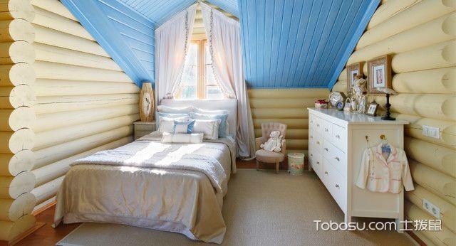 儿童房米色背景墙地中海风格装修设计图片