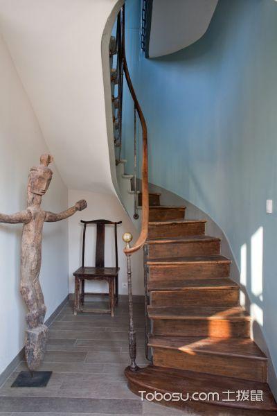 玄关咖啡色楼梯混搭风格装修图片