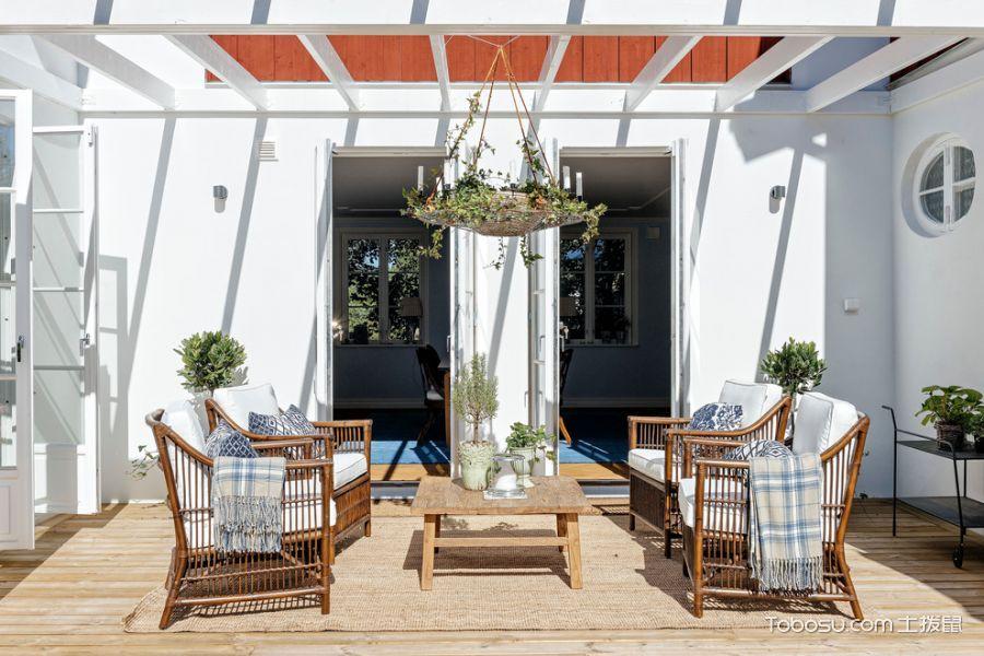 阳台咖啡色沙发北欧风格装饰设计图片
