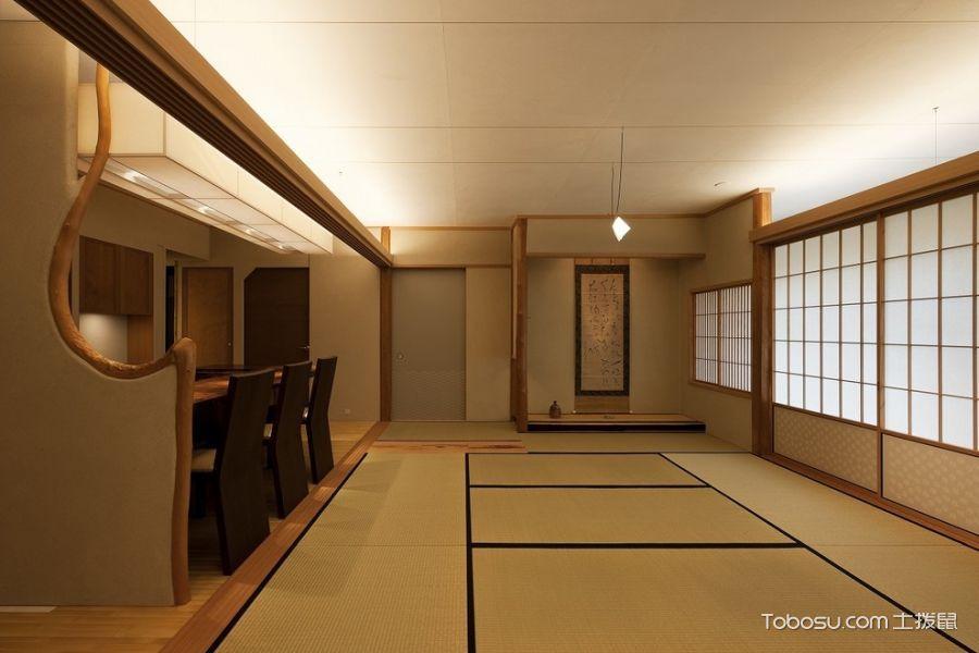 客厅米色推拉门日式风格装潢设计图片