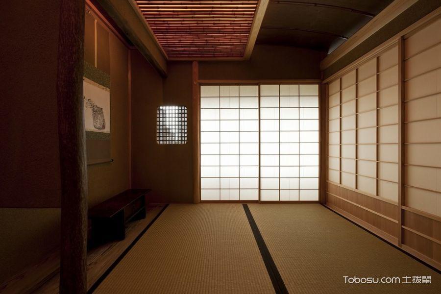 客厅黄色推拉门日式风格装潢效果图