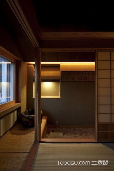客厅黄色推拉门日式风格装修图片