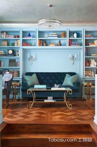 书房蓝色书架简欧风格装潢图片
