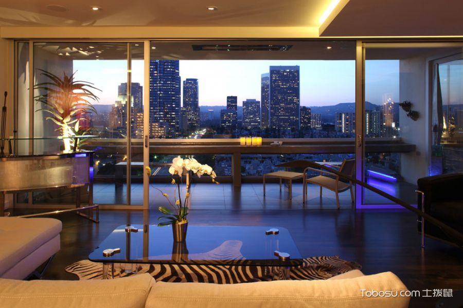 阳台咖啡色地砖现代风格装饰效果图