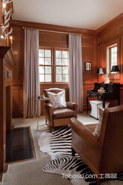 书房咖啡色沙发美式风格装修设计图片