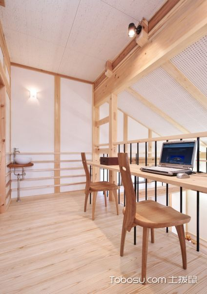 书房黄色书桌日式风格装饰效果图