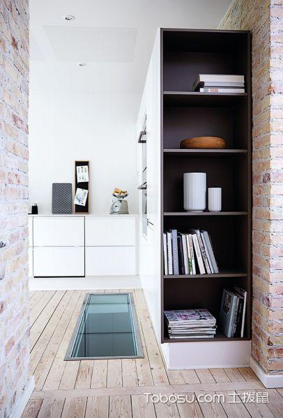 厨房咖啡色地板砖北欧风格装饰设计图片