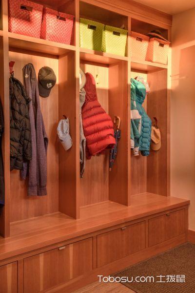 衣帽间橙色衣柜现代风格装修设计图片