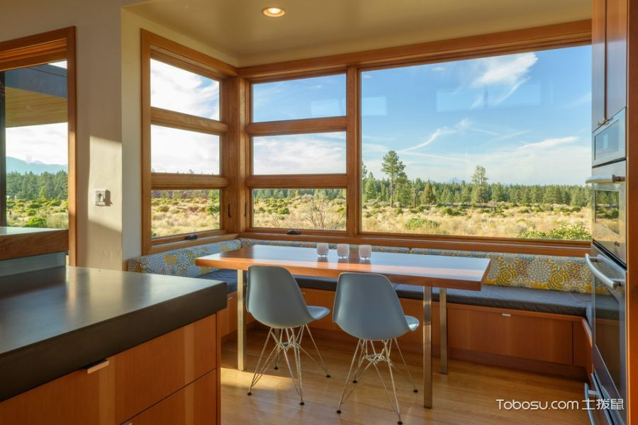 厨房橙色餐桌现代风格效果图