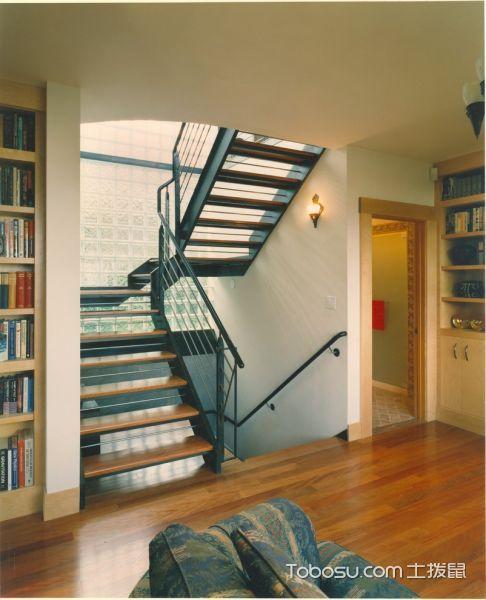 玄关咖啡色楼梯混搭风格装饰图片