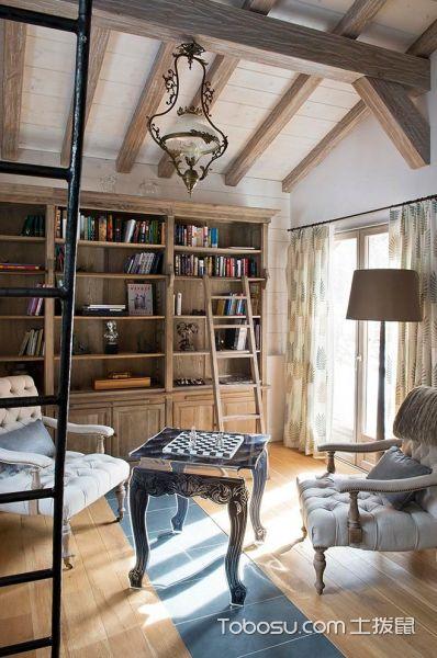 书房咖啡色吊顶混搭风格装潢设计图片