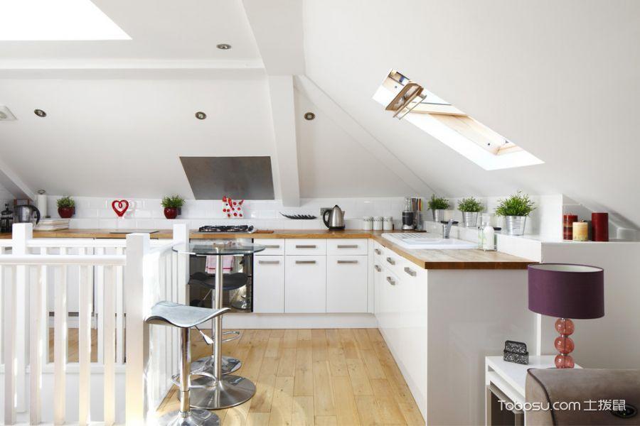 厨房黄色地板砖北欧风格装饰图片