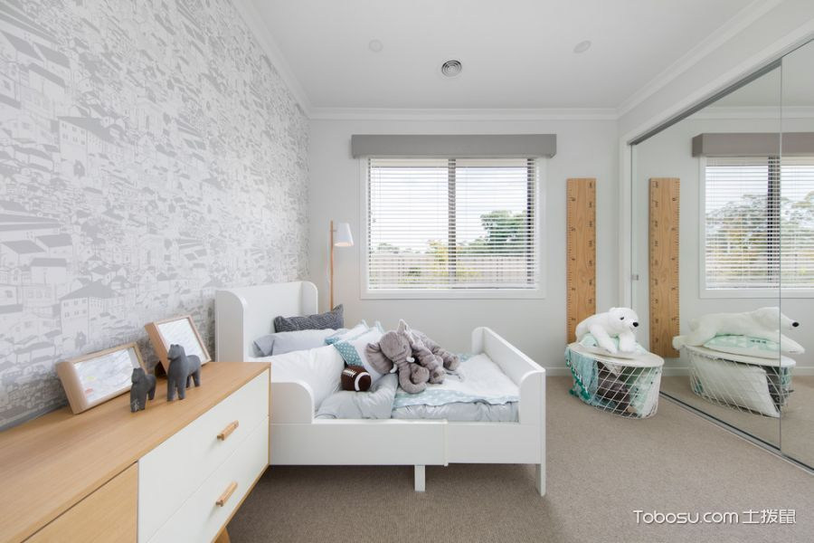 儿童房白色床北欧风格装潢图片