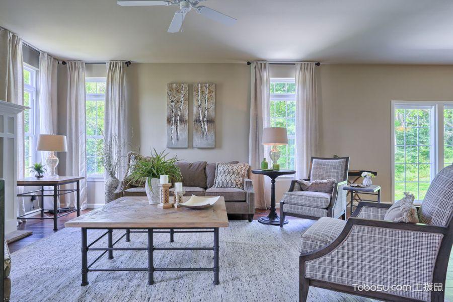 客厅白色落地窗美式风格装饰设计图片