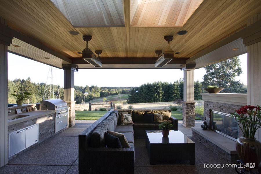 阳台咖啡色沙发美式风格装饰设计图片