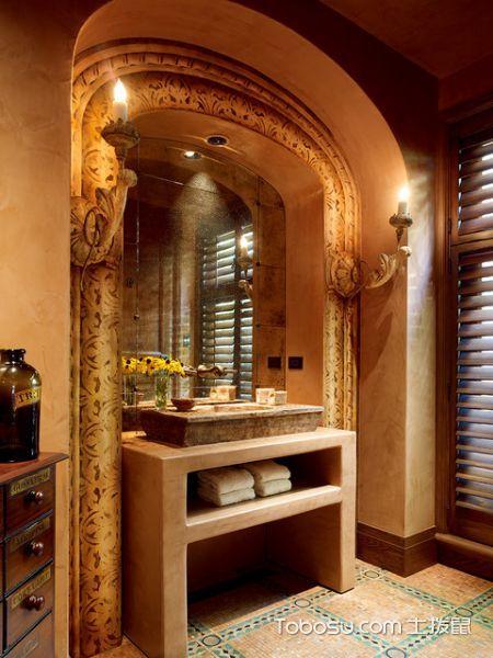 浴室咖啡色地砖地中海风格装修图片