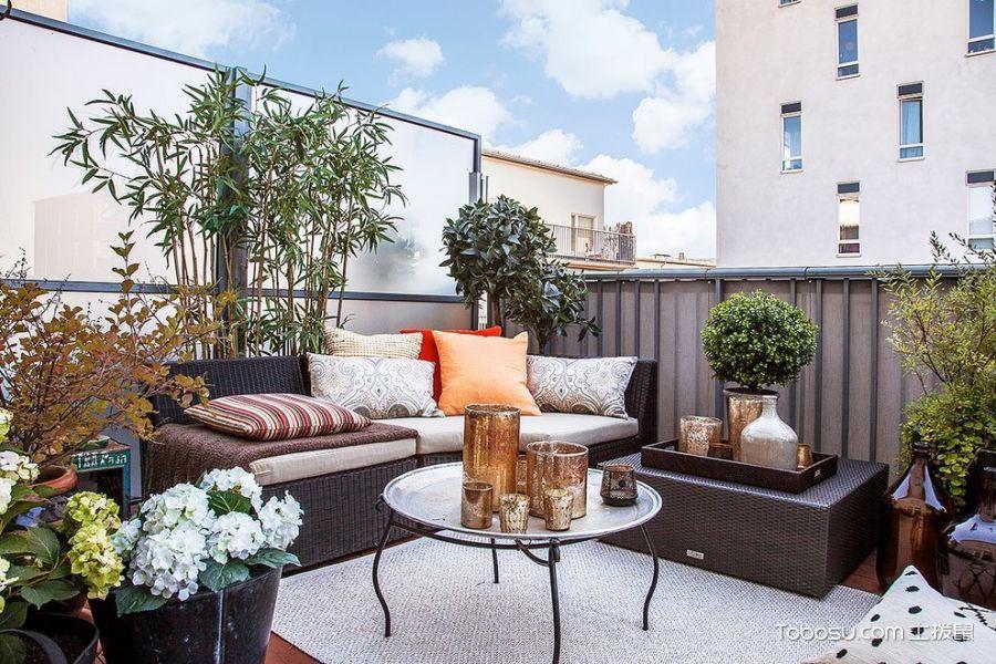 阳台咖啡色沙发北欧风格装修设计图片
