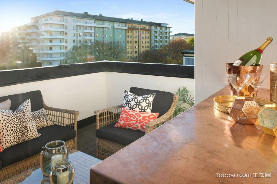阳台黄色沙发北欧风格效果图
