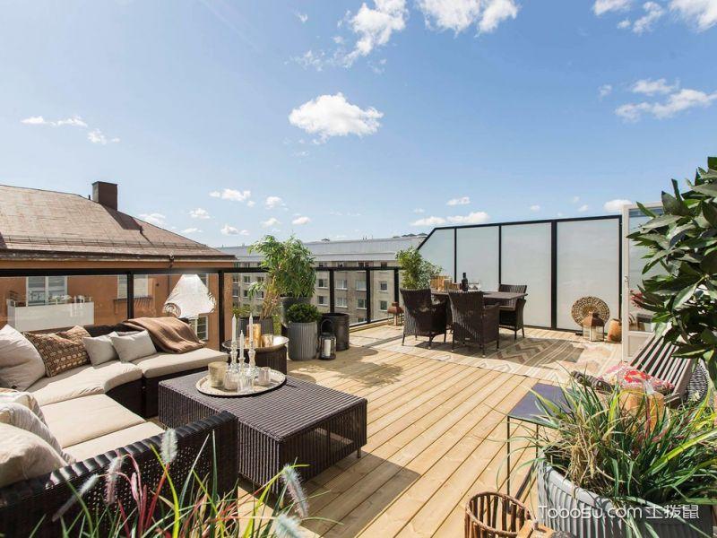 阳台黑色沙发北欧风格装潢效果图